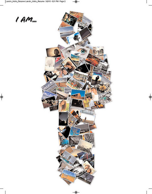 Collage of pictures in the shape of a person.